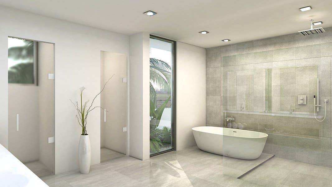 Interior Design side view bathroom project in 301 Golden Beach Drive, Florida