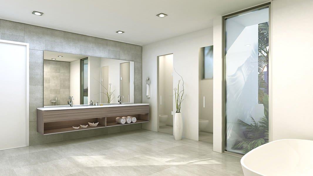 Interior Design front view bathroom project in 301 Golden Beach Drive, Florida