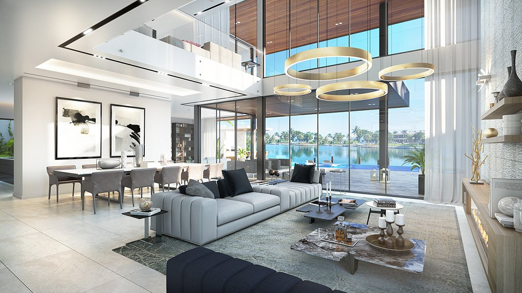 Interior View architecture project at Biscayne Point, Miami Beach