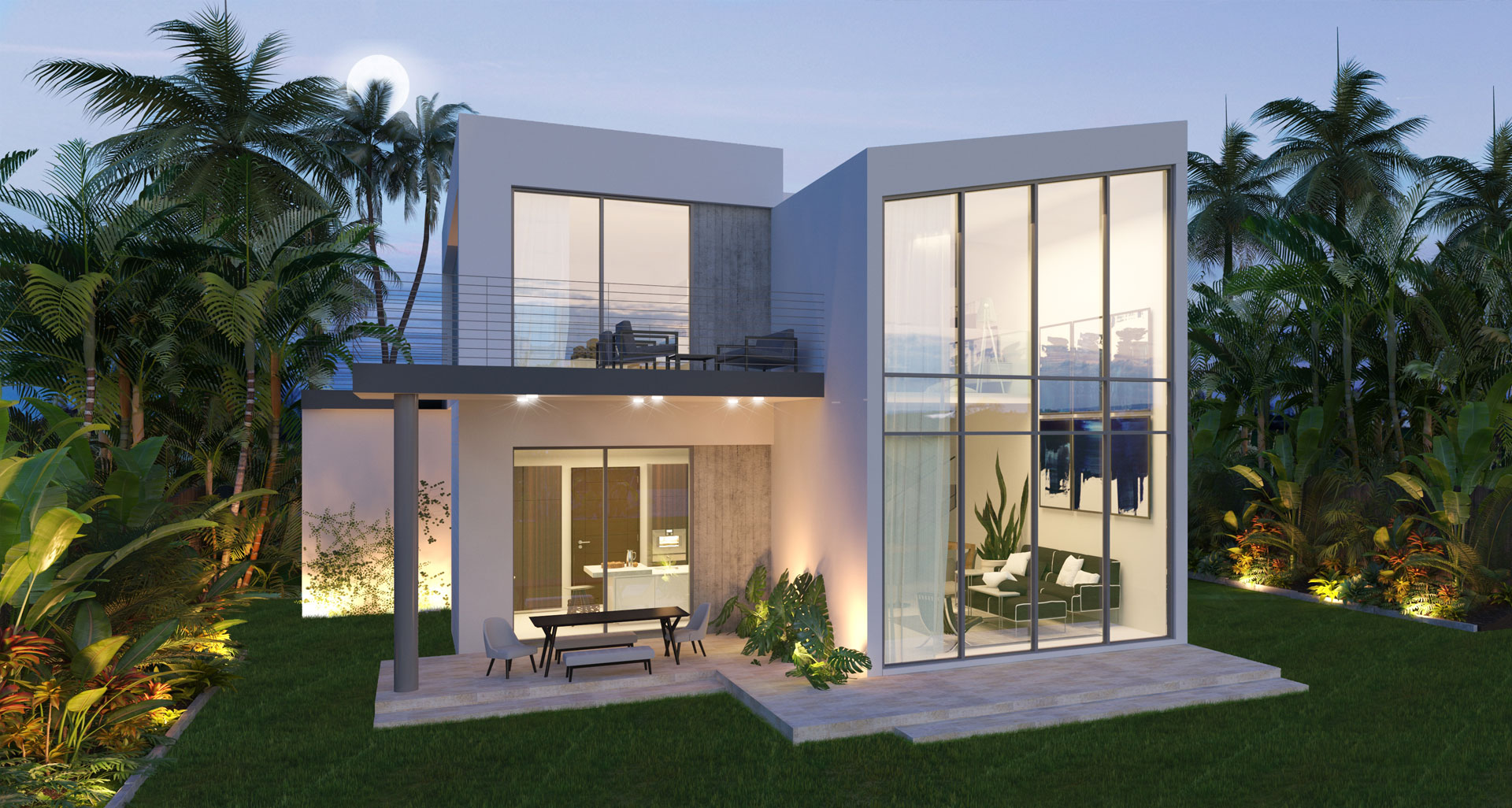 Exterior view of the architecture project at Guam 3 Unit Complex