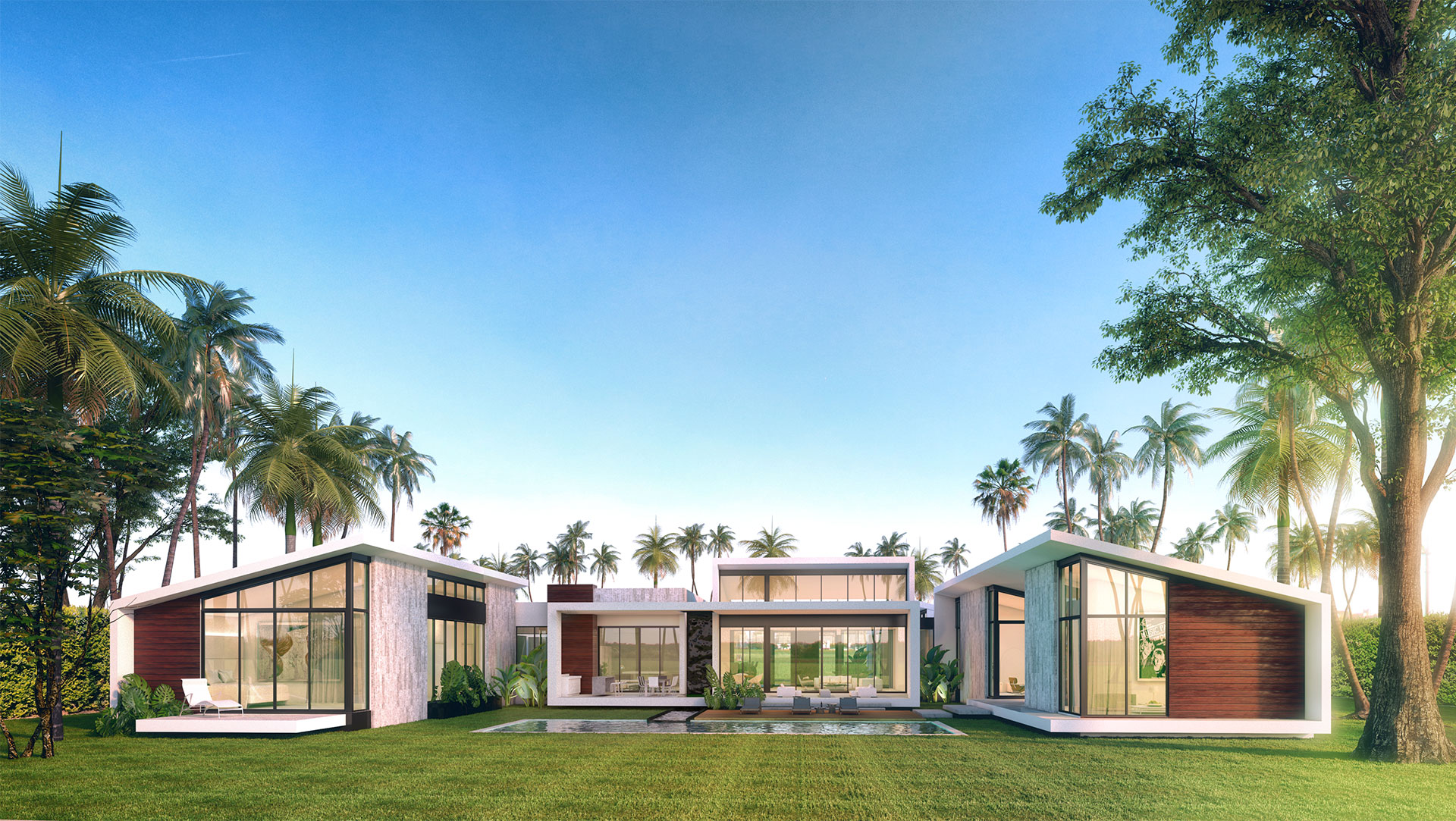Front view of the Architecture project at Lake Ridge, Weston