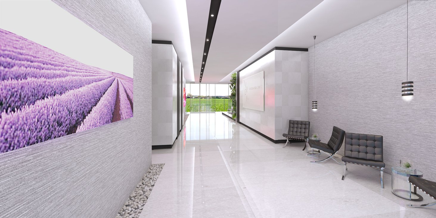 Front view of the Interior Design project at Shalev Office Building Lobby