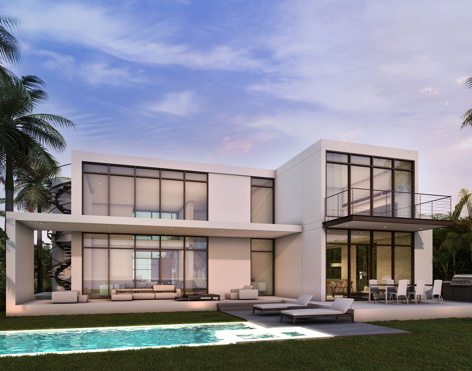 Exterior Architecture back view project in 1350 Bay Harbor, Florida