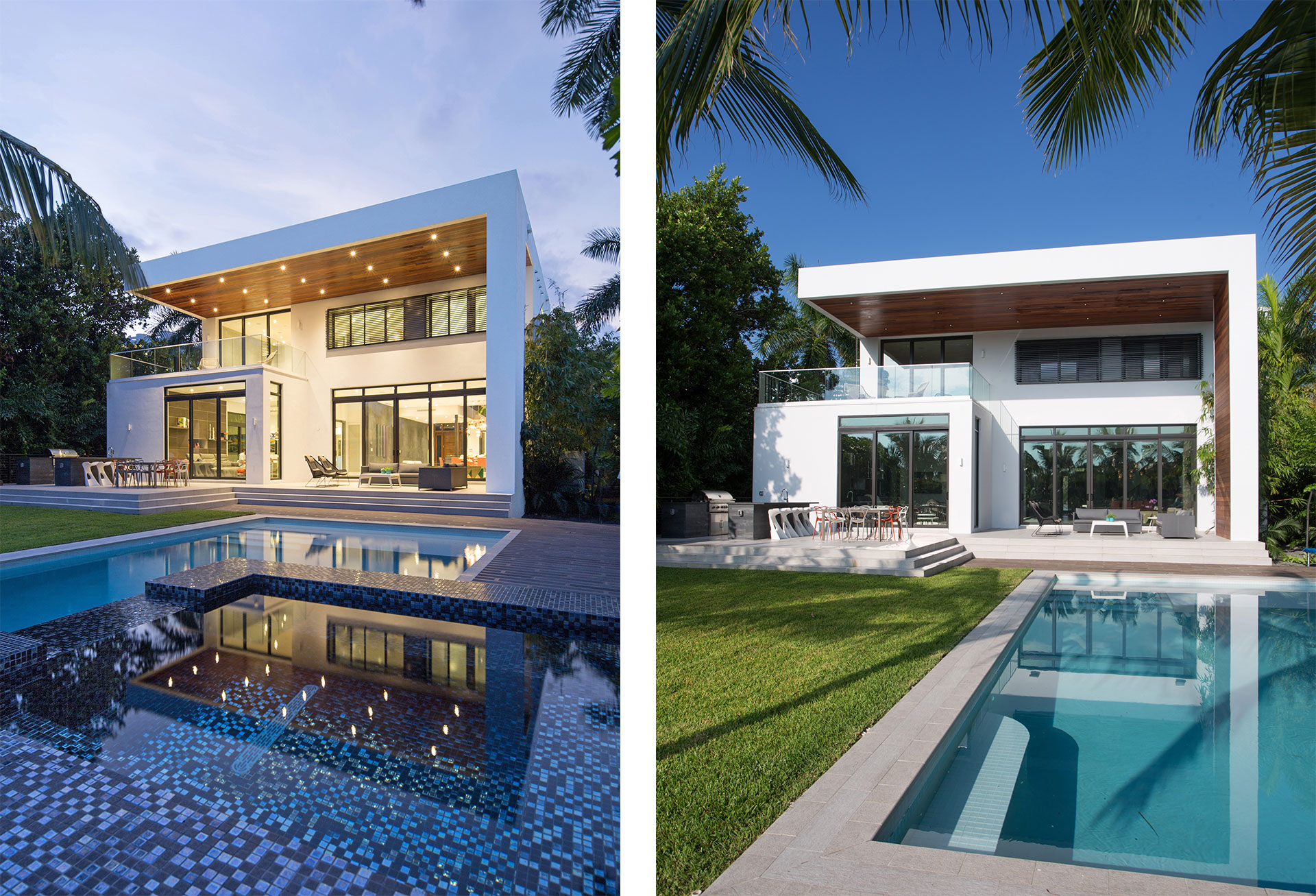 Exterior Architecture swimming pool view project in 475 Center Island Drive, Florida