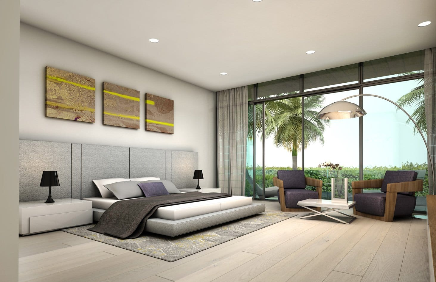 Interior Design bedroom view project in 65 Bal Harbour, Florida