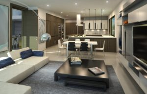 Interior Design kitchen view project in 65 Bal Harbour, Florida