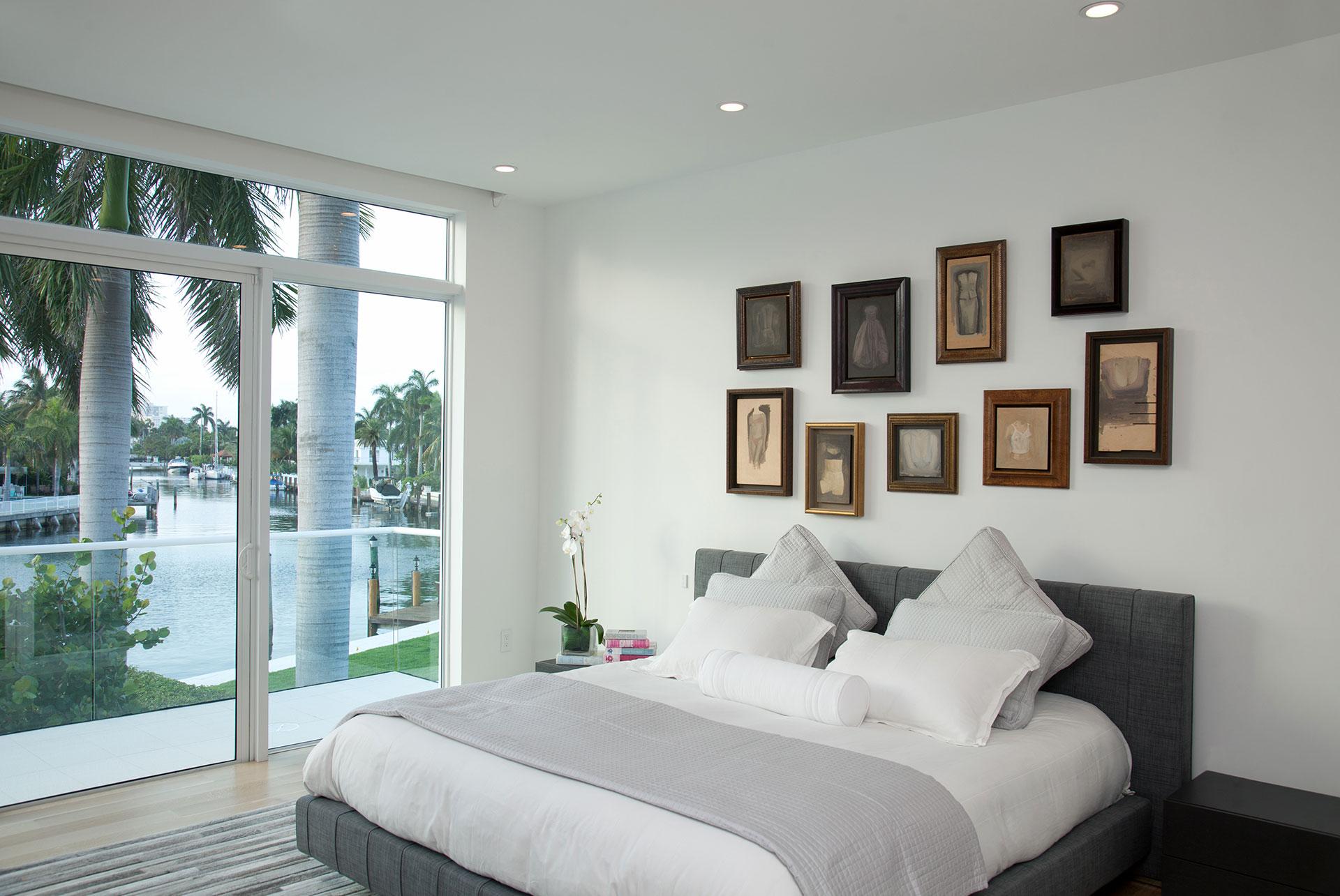 Interior Design bedroom view project in 96 Golden Beach Drive, Florida