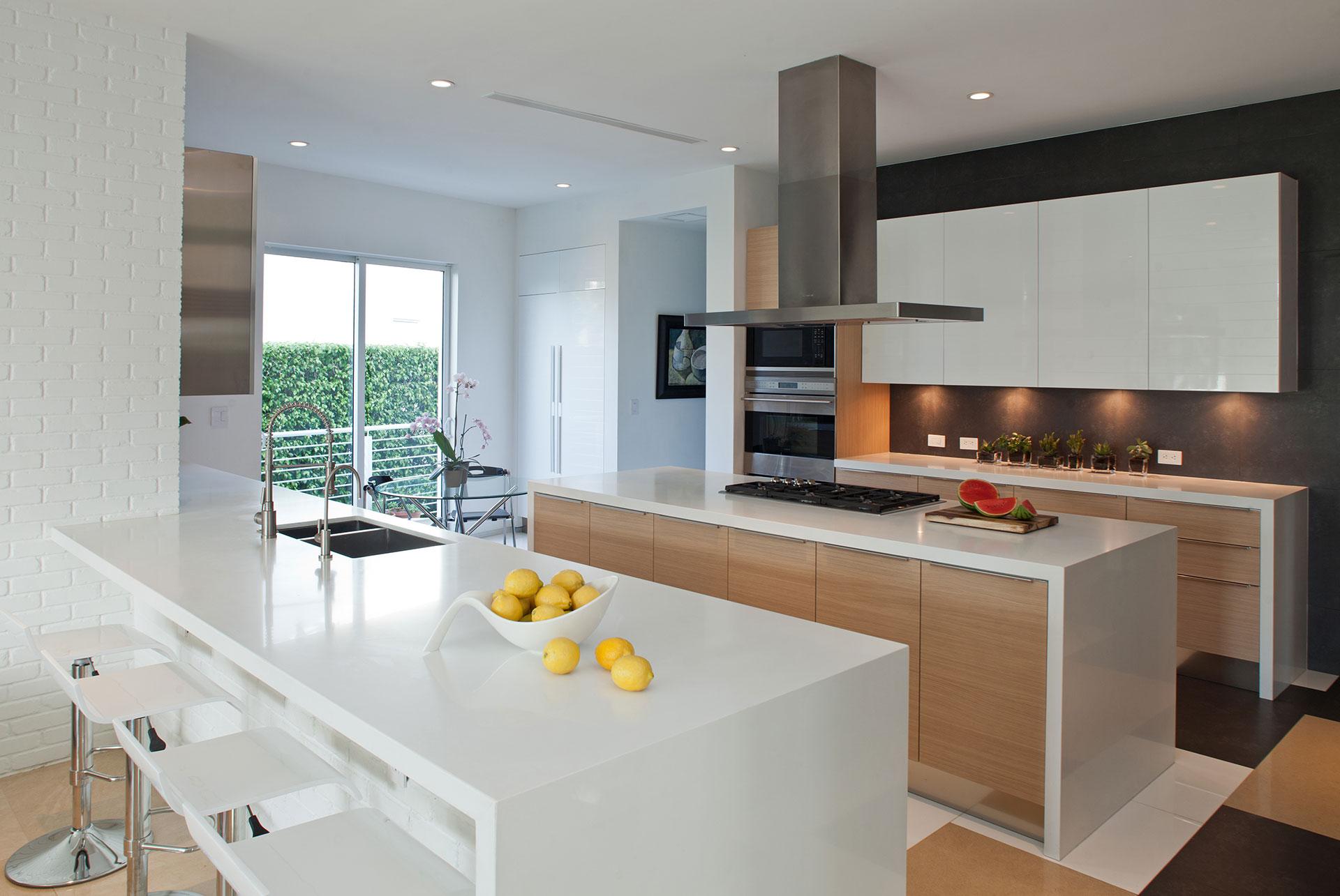Interior Design kitchen view project in 96 Golden Beach Drive, Florida