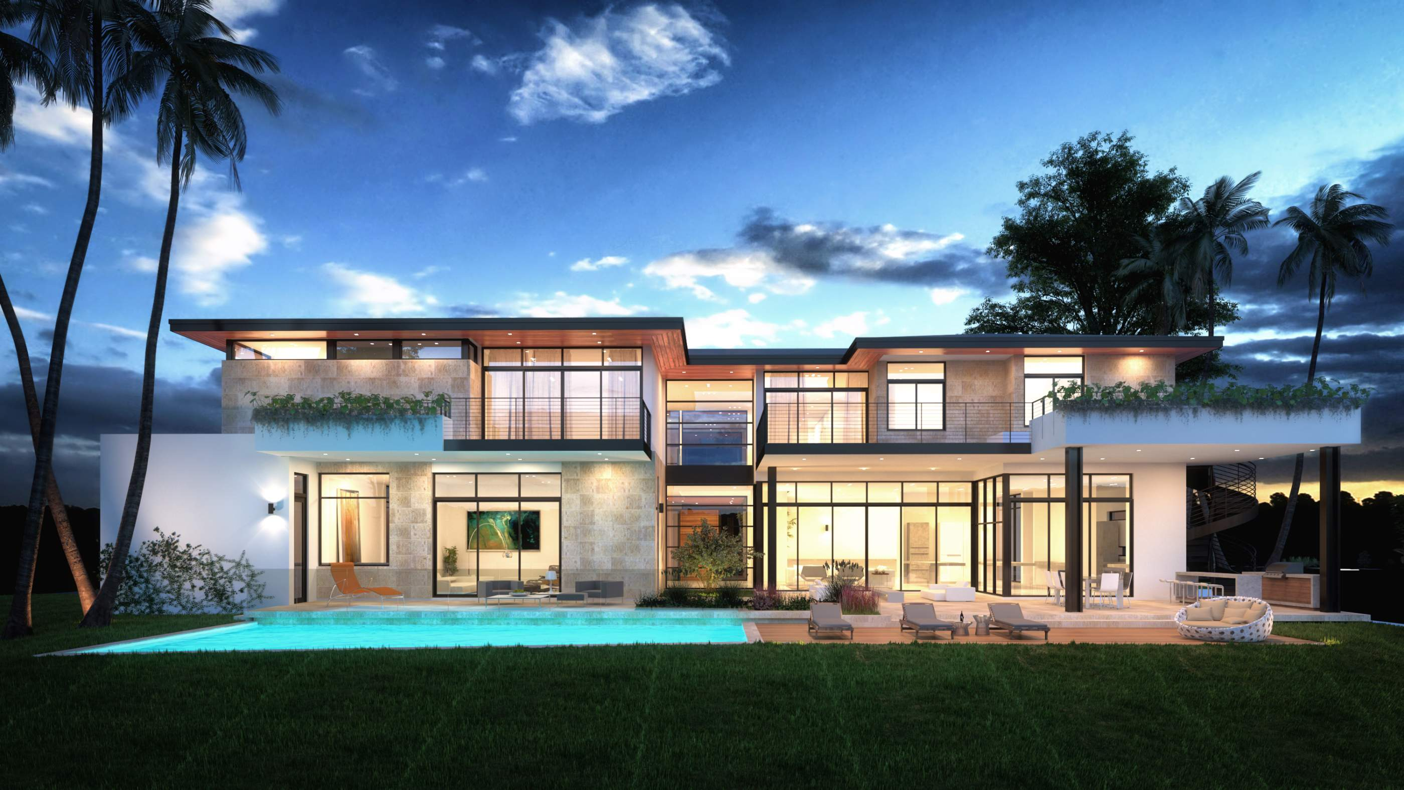 Exterior View architecture project 197 Enchanted Lake Miami, Florida