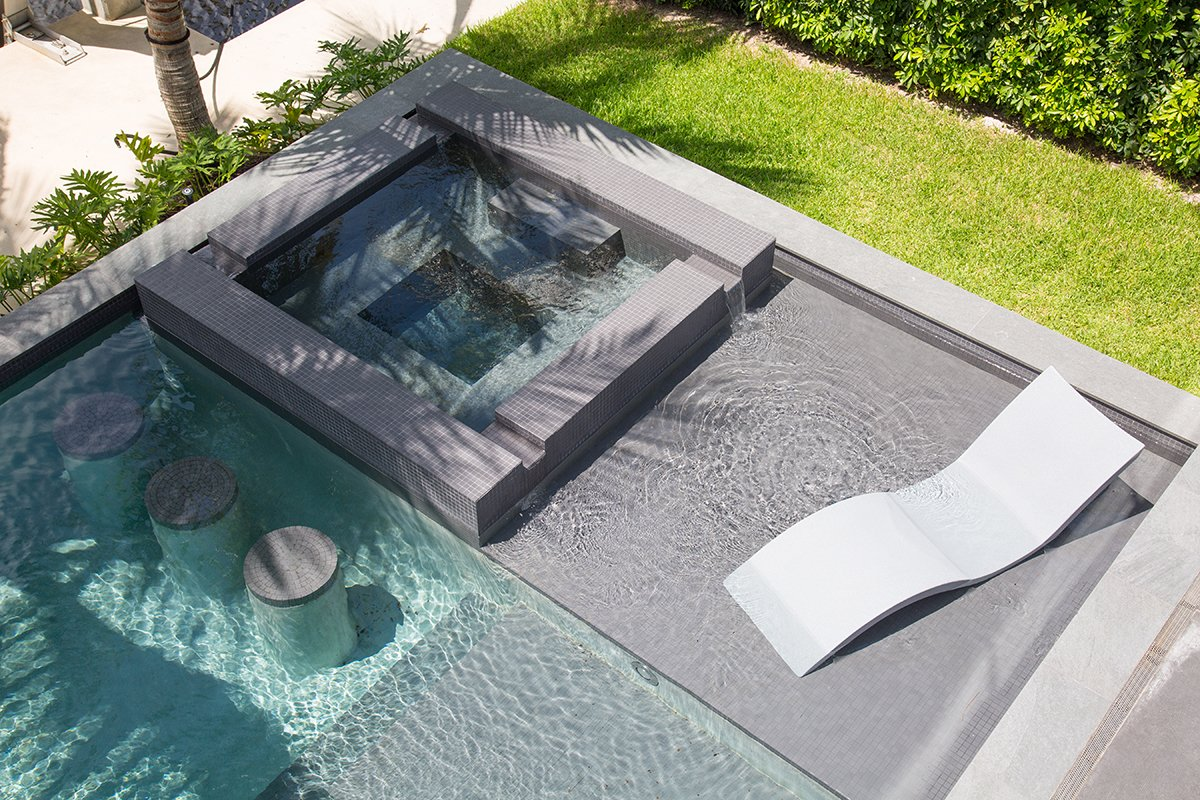 Exterior Architecture swimming pool view project in Boca Raton, Florida