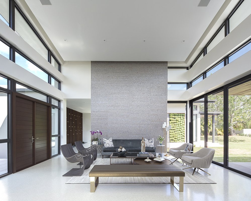 Living Room Front View Interior Design project in Pinecrest, Florida