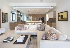 Living Room and Kitchen View Interior Design project in Pinecrest, Florida