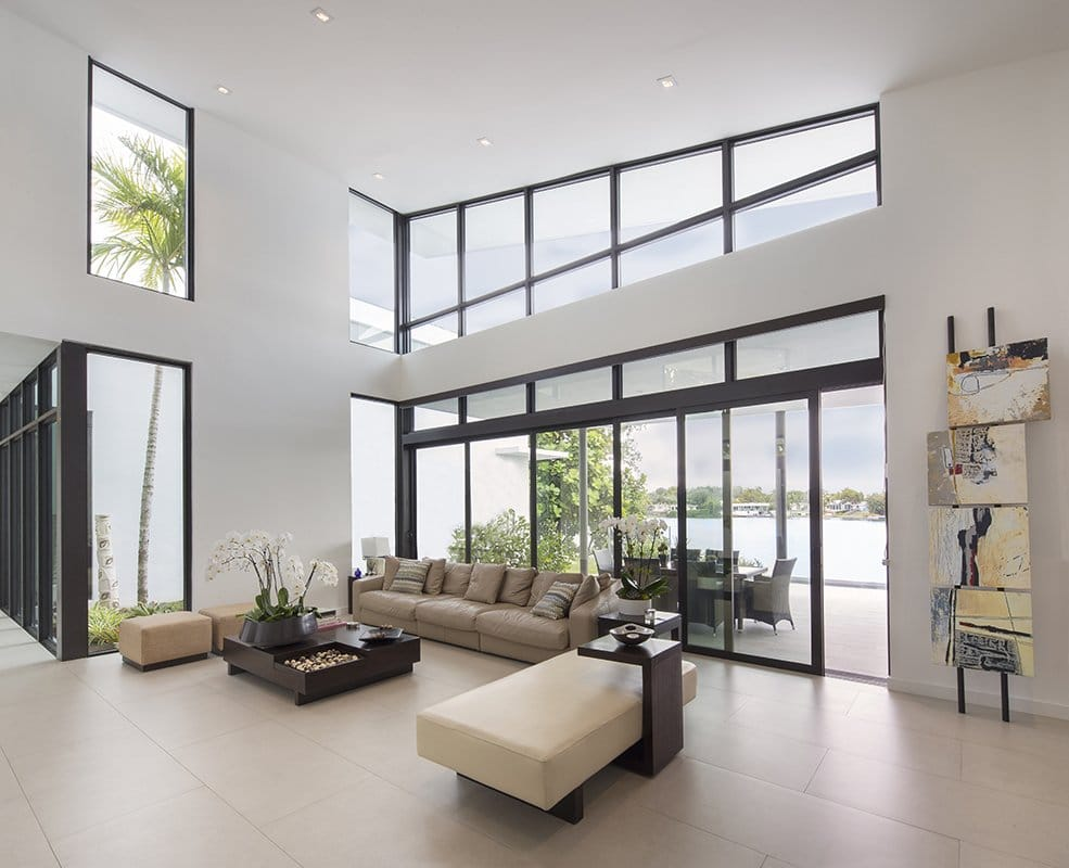 Interior Design living room front view project in Sky Lake I, Florida