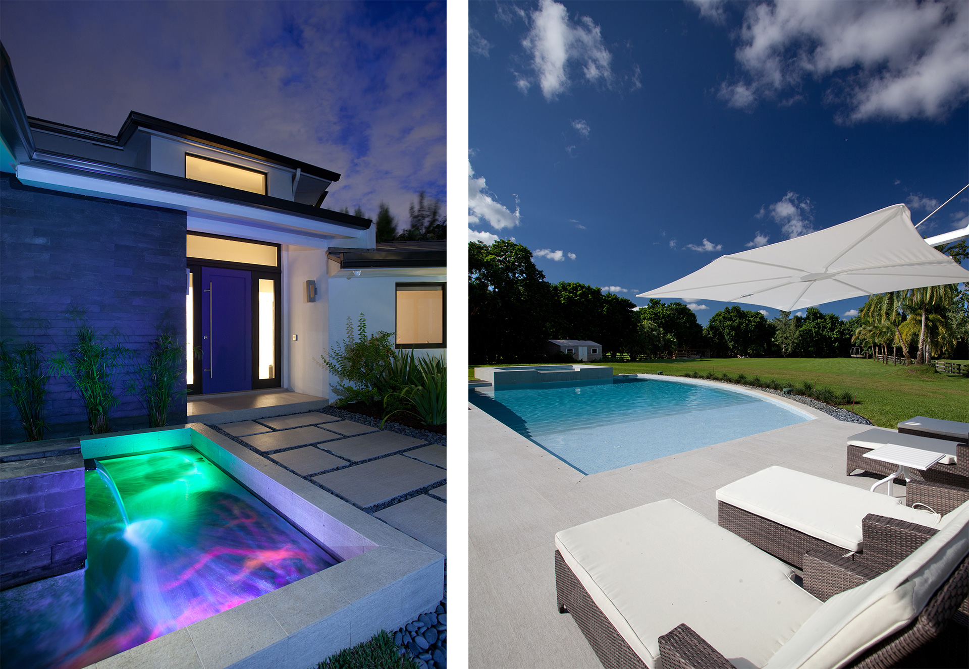 Exterior Architecture swimming pool view project in Southwest Ranches, Florida