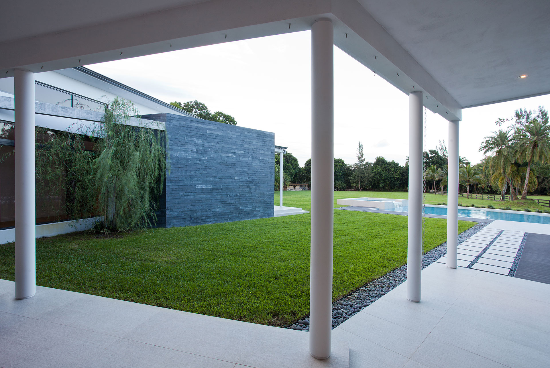 Exterior Architecture garden view project in Southwest Ranches, Florida
