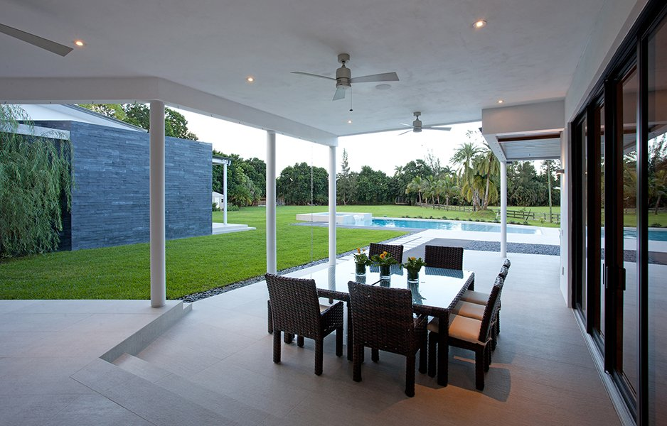 Exterior Architecture terrace front view project in Southwest Ranches, Florida